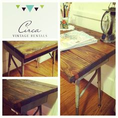 Upcycled School Desk w/Wood Top for hire.   CircaVintageRentals.com