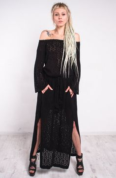 This+tremendous+crochet+dress,maxi+black+knitted+dress+is+made+of+viscose+yarn.+Thelacy+structure+of+this+crochet+maxi+dress+is+very+refi…