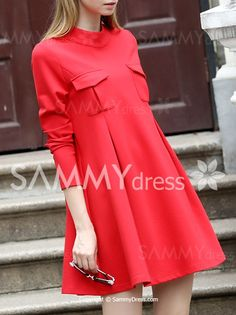 Trendy Stand Collar Long Sleeve Pocket Design Solid Color Women's Dress