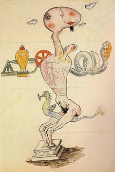 This is a historical example of an exquisite corpse drawing. Exquisite corpse. Yves Tanguy, Man Ray, Max Morise, and André Breton. c.1928.