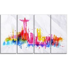 DesignArt Rio de Janeiro Skyline Cityscape 4 Piece Painting Print on Wrapped Canvas Set