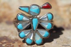 Vintage Signed Zuni Style Sterling Silver Turquoise Thunderbird Ring -New Old Store Stock.
