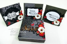 Black n red love card set with box