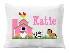 Farm Pillow Case , Girls Farm Pillowcase, Personalized Pillow Case, Farm Bedding by TheTrendyButterfly on Etsy Personalized Gifts For Kids, Personalized Pillow Cases, Monogram Pillowcase, Butterfly Images, Party Items, Goodie Bags, Graduation Gifts, Boy Or Girl, Bed Pillows