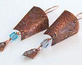 Etched copper shield drop earrings