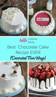 This article is AMAZING! Former bake shop owner, Renee from Sweet Revelations, shares how to make the best chocolate cake recipe EVER! She gives tips and tricks, suggestions on 4 ways to decorate your cake, and the recipe for chocolate cake, swiss meringue buttercream and chocolate ganache!