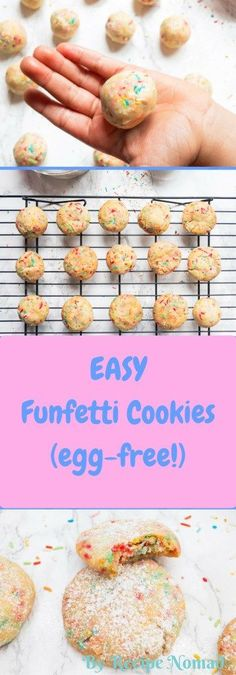 How cute are these Funfetti Cookies? Not only are the colorful and adorable, they also melt in your mouth! Perfect for Easter, birthday parties or just because it's Friday!  http://www.recipenomad.com/funfetti-cookies/  Melt in Your Mouth Funfetti Cookies | Recipe Nomad