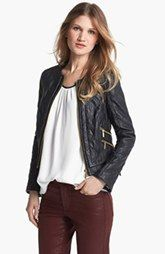 Chaus Collarless Quilted Faux Leather Jacket