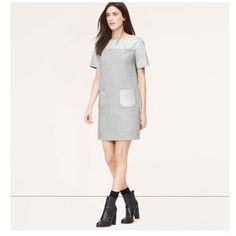 👗Grey straight dress + imitation leather details Loft dress with tags. Supersoft grey fabric un a very comfortable, straight cut. Imitation leather panels around the neckline (front/back) and for the pockets. Never worn!! LOFT Dresses
