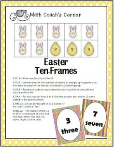 Math Coach's Corner: Easter Ten-Frames and Number Cards