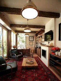 The Office Rainn Wilson's New Man Cave, complete with oriental rug, globe, and lightbulbs that don't look easy to change. #RainnWilson #TheOffice #ApartmentTherapy