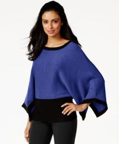 Alfani Colorblocked Poncho Sweater, Only at Macy's