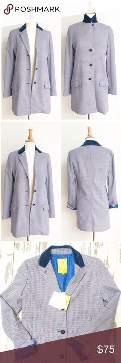 ⭐️NWT⭐️ QMack London Style Blazer Walking Coat Blazer is new with tags without any defects. The bust measurement is approximately 19 inches across from armpit to armpit and the length is approximately 33 inches. The jacket is fully lined. The fabric content is 65% polyester 33% viscose and 2% elastin. QMack Jackets & Coats Blazers