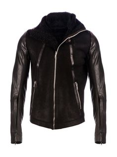 Black calf leather biker jacket from Rick Owens featuring a funnel neck collar, a zip front fastening, two front zip pockets and long sleeves with a zip opening,
