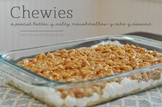 Chewies bars - cake mix, marshmallows, peanut butter chips, peanuts and rice krispie treats