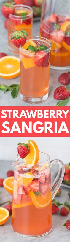 Fruity and refreshing homemade strawberry sangria! Gather up the juiciest strawberries, white wine, and a few other ingredients because you'll want to make this recipe whenever warm weather hits!
