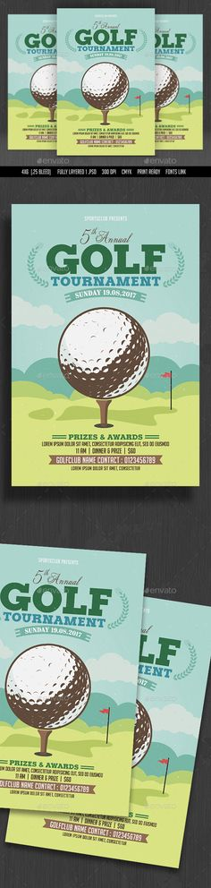 Golf Tournament Flyer Design - Sports Event Flyer Template PSD. Download here: http://graphicriver.net/item/golf-tournament-flyer/16569213?ref=yinkira