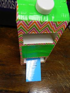 Hands On Bible Teacher: REVIEW WEEK---Milk Carton Chute This will be great fun to do with the key passages.  The key passage on one side of the card, insert and the card flips over to reveal the reference!