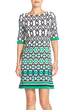 30f8989b291 Eliza J Print Jersey A-Line Dress Jersey Knit Dress