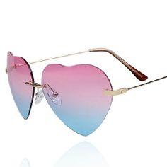 Gradient Color Mirror Lens Love Heart Frame Sunglasses Aneis, Colares,  Pulseiras, Cachecol, aee3b2c294