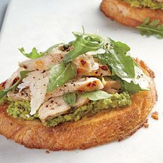 Open-Faced Chicken Sandwiches with Green Pea Spread | CookingLight.com #myplate #protein #veggies #dairy