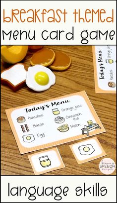 Teach functional breakfast themed vocabulary to your preschool and elementary students with this fun menu card game! This game is a fun activity to pair with drill work for speech therapy or to pair in preschool or kindergarten centers with play food and other fun kitchen toys. This game can also be used in special educational classrooms. This game is easy to store making ideal for the traveling SLP or special educator. Click here to see more of this fun and effective language resource!