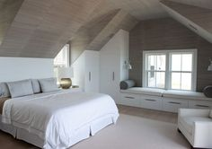 Minimalist White Bedroom With Bay Window, bedroom ceiling, ideas for window