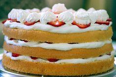 Strawberry Chiffon Shortcake -- homemade cake layered with whipped cream and fresh strawberries.
