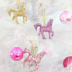 Glitter unicorn ornaments! What Christmas tree is complete without them!?