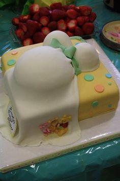 Winnie The Pooh Baby Shower Belly Cake   White Valvet Cake With Bavarian  Cream And Fresh