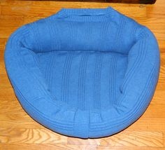 CAT Bed DOG Bed Pet BED Handmade Upcycled Sweater Gift CrabbyCats, Crabby Cats 0020 Blue - pinned by pin4etsy.com