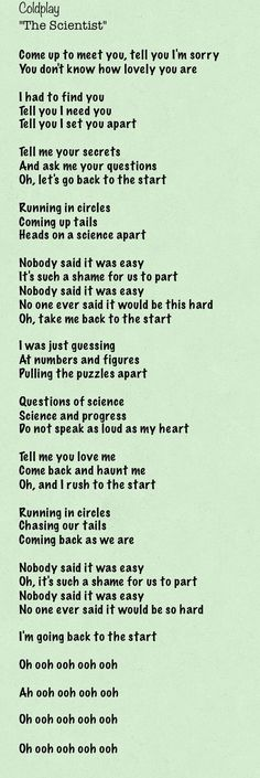 The Scientist by Coldplay lyrics