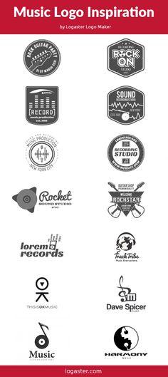 Logaster logo maker presents: music logo design inspiration ideas vintage c Music Logo Inspiration, Logo Design Inspiration, Logo Maker, Unique Logo, Cool Logo, Musician Logo, Anniversary Logo, Famous Logos, Online Logo
