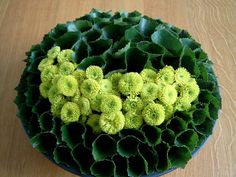 Modern flower arrangement with kermit mums and rolled galax leaves - source unknown
