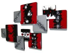 "Custom 2pc ""Xander"" Wood wall hanging - Red Black Silver Wooden Abstract Modern Art -Versatile Squares Wall Sculpture Hangings by Diva Art69 by DivaArt69, $124.00 USD"