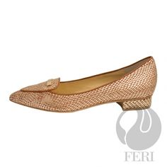 """AMBER - Snake skin printed napa leather flat with small heel - Napa leather sole and insole - Heel height: 0.75"""""""
