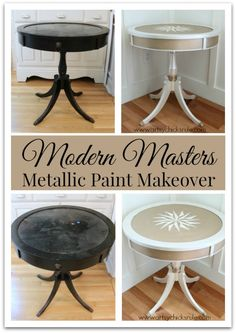 Modern Masters Metallic Paint Makeover on a Compass Rose Table - Before and After | By Artsy Chicks Rule