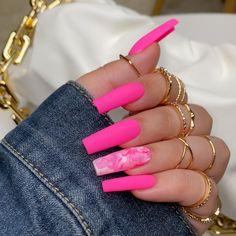 Ballerina Acrylic Nails, Acrylic Nails Coffin Pink, Long Square Acrylic Nails, Square Nails, Bright Pink Nails, Pink Bling Nails, Glow Nails, Cute Acrylic Nail Designs, Fire Nails