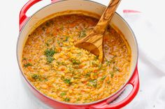 Red Lentil Soup Recipe - quick and easy to make, loaded with Mediterranean flavors.