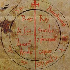 """Roger by grace of God King of Sicily, Duke of Apulia, and Prince of Capua"" (Rota on Charter, 1140 A.D.)"
