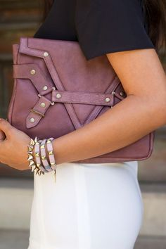 Jack Germain Bette mauve clutch.