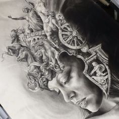 "Here's a few close ups of ""the Chariot"" #drawing #graphite #ink #worldofpencils #septicflesh"