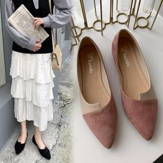 Chaofanjiancai Women Splice Color Flats Shoes Fashion Pointed Toe Ballerina Ballet Flat Slip On Shoes Low Heel Shoes, Low Heels, Slip On Shoes, Loafers For Women, Shoes Women, Ladies Loafers, Ladies Shoes, Ankle Boots Dress, Casual Heels