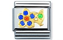 Nomination stainless steel with 18ct gold and Cubic Zirconia Blue and orange flower Classic Charm