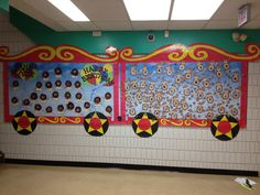 Circus train bulletin board Carnival Bulletin Boards, Circus Theme Classroom, Train Bulletin Boards, Classroom Decor, School Wide Themes, Carnival Themes, Circus Decorations, Library Themes, Graduation Theme