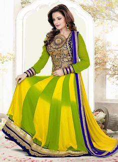 Green Monica Bedi Ankle Length Anarkali Suit
