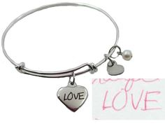 Custom Handwriting Small Heart Charm Bangle by LaurenNicoleGifts