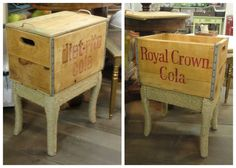 A vintage SODA CRATE made into a table/trunk!