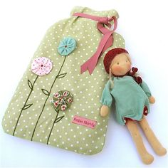 Love the simplicity of design and the matching doll!!  Nice idea for a child's hottie.