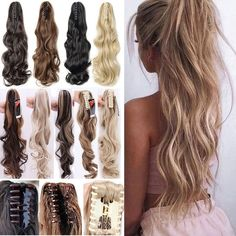 Angelaicos Women Long Wavy Black Brown Blonde Natural Hairpiece Claw Clip on Hair Extension Ponytail Blonde Ponytail, Clip In Ponytail, Ponytail Hairstyles, Bun Hair, Ponytail Hair Extensions, Ponytail Extension, Beige Blonde, Brown To Blonde, Medium Hair Styles